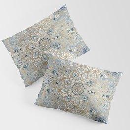 Mandala Flower, Blue and Gold, Floral Prints Pillow Sham