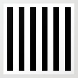 Simply Vertical Stripes in Midnight Black Art Print