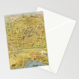 Vintage Bird's Eye Map Illustration - Greater Los Angeles, California (1932) Stationery Cards