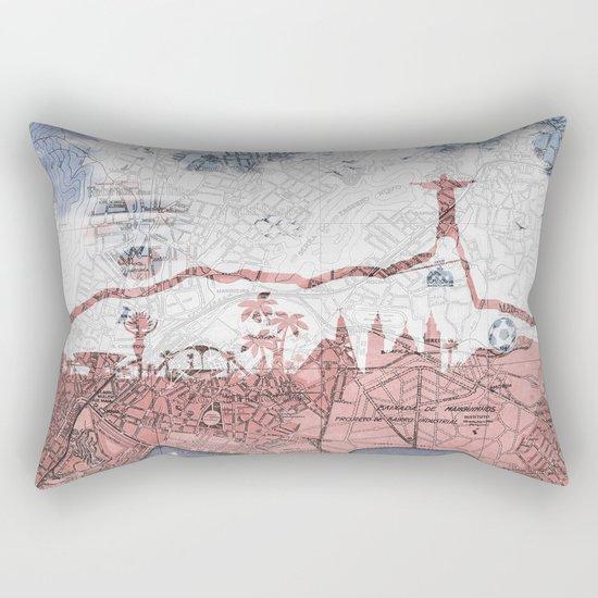 Rio de Janeiro skyline - vintage map Rectangular Pillow