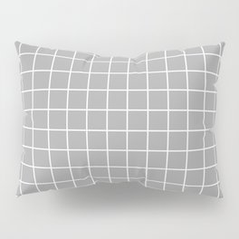 Quick Silver - grey color - White Lines Grid Pattern Pillow Sham
