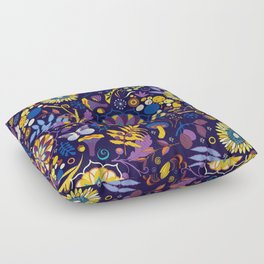 Ripe autumn – purple and yellow Floor Pillow