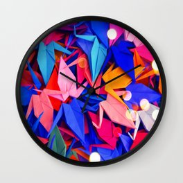 Senbazuru | pink and blues Wall Clock