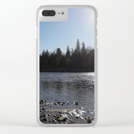 Sun reflections at Squamish River Clear iPhone Case