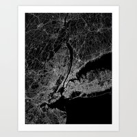 new york map Art Prints featuring New York map by Line Line Lines