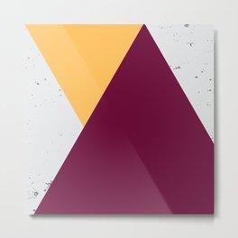 Triangle Grunge - Yellow/Maroon Metal Print