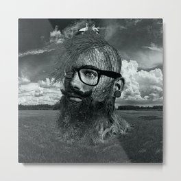 Eco Hipster Black and White Metal Print