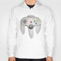 nintendo Hoodies featuring Nintendo 64 by Zoë Hayman
