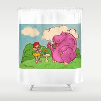 hippo Shower Curtains featuring Hippo by Rafael Paschoal