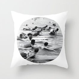 Group Surfers Throw Pillow