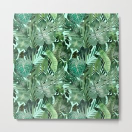 Seamless Pattern «Tropical leaves» Rich green leaves on blue background Metal Print
