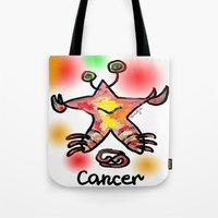 cancer Tote Bags featuring cancer  by sladja