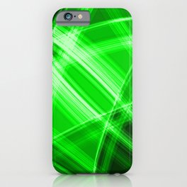 Neon strokes with green diagonal lines from intersecting bright stripes of glow. iPhone Case