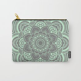 Mandala Flower Gray & Mint Carry-All Pouch