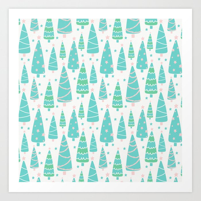Pastel Christmas Tree Forest Art Print