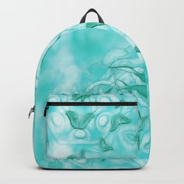 Abstract butterflies in teal landscape Backpack