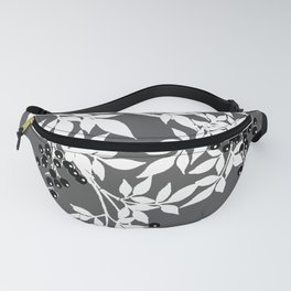TREE BRANCHES GRAY WHITE WITH BLACK BERRIES Fanny Pack