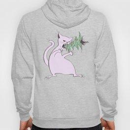 Funny Fat White Cat Eats Christmas Tree Hoody