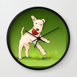 Terrier playing with ball Wall Clock