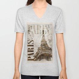Vintage Paris eiffel tower illustration Unisex V-Neck