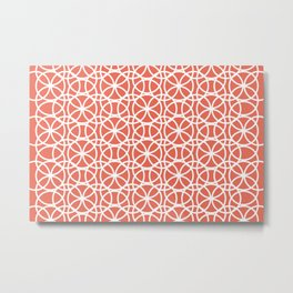 Pantone Living Coral and White Rings Circle Heaven, Overlapping Ring Design Metal Print