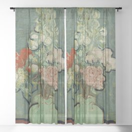 "Vincent Van Gogh ""Vase of Flowers"" Sheer Curtain"
