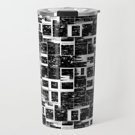 Black And White Abstract Puzzle Travel Mug
