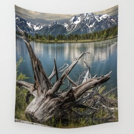 Tree Stump on the Northern Shore of Jackson Lake at Grand Teton National Park Wall Tapestry