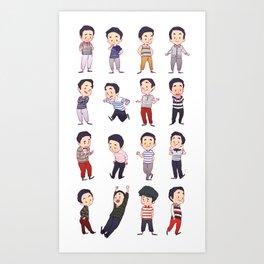 Mini Blaine stripes Art Print