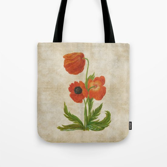 Vintage painting- Bunch of poppies Poppy Flower floral Tote Bag