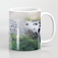 snow leopard Mugs featuring Snow Leopard  by Dimind