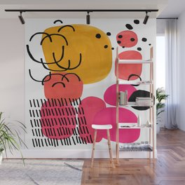 Modern Mid Century Fun Colorful Abstract Minimalist Painting Yellow Pink Bubble Candy Drops Wall Mural