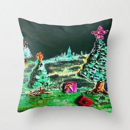 Nightime, Neon, Christmas Delight Throw Pillow