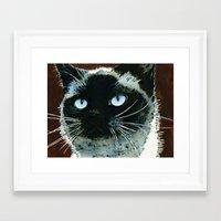 jenna kutcher Framed Art Prints featuring Jenna by Cat Art by Lori Alexander