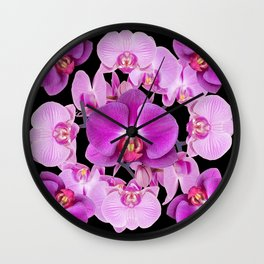 Modern  Ornate Pink & Purple  Moth Orchids Black Colored Art Wall Clock