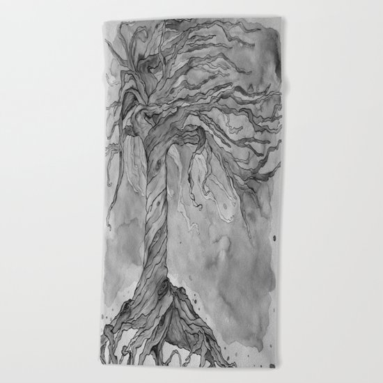 Tree of Life (Grey Scale) Beach Towel