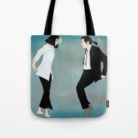 pulp fiction Tote Bags featuring Pulp Fiction Versus by Borja Espasa