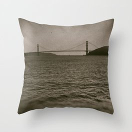 Golden Gate From The Sea (wetplate) Throw Pillow