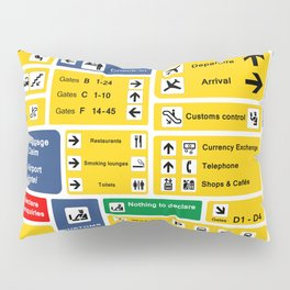 Airport Information Board Yellow Blue Signs Direction Pictograms Pillow Sham