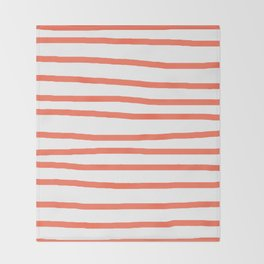 Simply Drawn Stripes in Deep Coral Throw Blanket