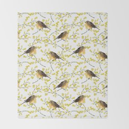 Mimosa and birds Throw Blanket