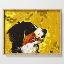 bernese mountain dog vector art Serving Tray