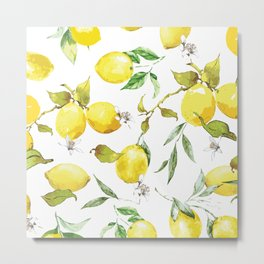 Watercolor lemons 8 Metal Print