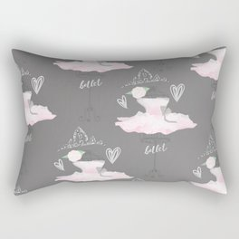 Pink & Grey Couture Ballerina Rectangular Pillow