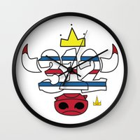 chicago bulls Wall Clocks featuring Chicago Pride Bulls by TyRex Creations
