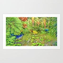 Frida Kahlo's 'Casa Azul' Secret Garden tropical landscape Art Print