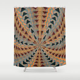 Triangle Meditation Pulse Geometric in Mahogany, Subtle Neon and Black Shower Curtain