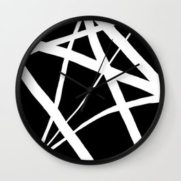 Geometric Line Abstract - Black White Wall Clock
