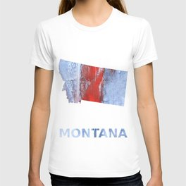 Montana map outline Red blue steel colorful wash drawing design T-shirt