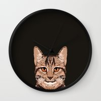 ripley Wall Clocks featuring Ripley - Tabby Cat cute cat gifts for cat people and cat lady gift ideas for the cat lover  by PetFriendly